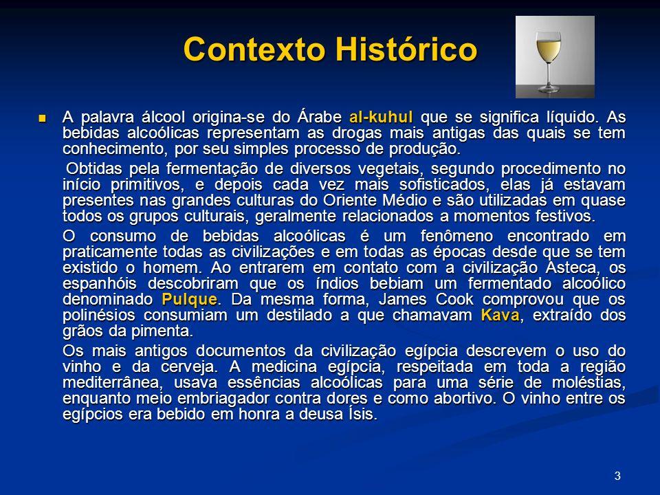 3 Contexto Histórico A palavra álcool origina-se do Árabe al-kuhul que se significa líquido. As bebidas alcoólicas representam as drogas mais antigas