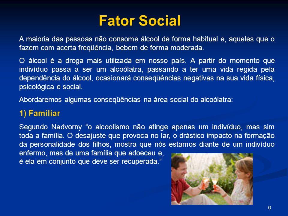 6 Fator Social A maioria das pessoas não consome álcool de forma habitual e, aqueles que o fazem com acerta freqüência, bebem de forma moderada. O álc