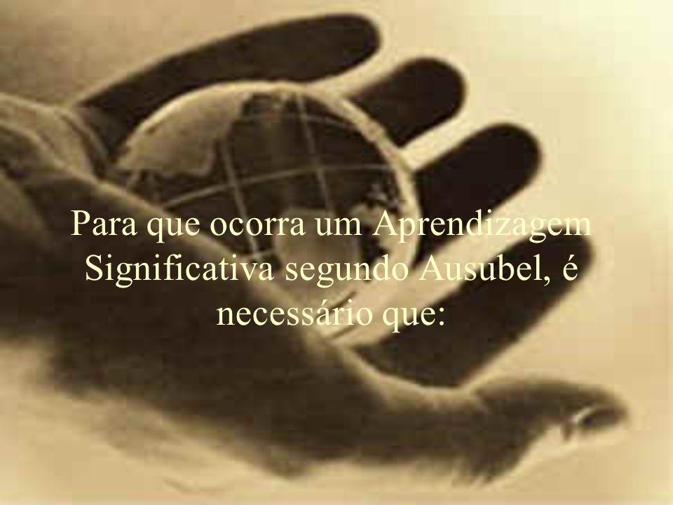 Para que ocorra um Aprendizagem Significativa segundo Ausubel, é necessário que: