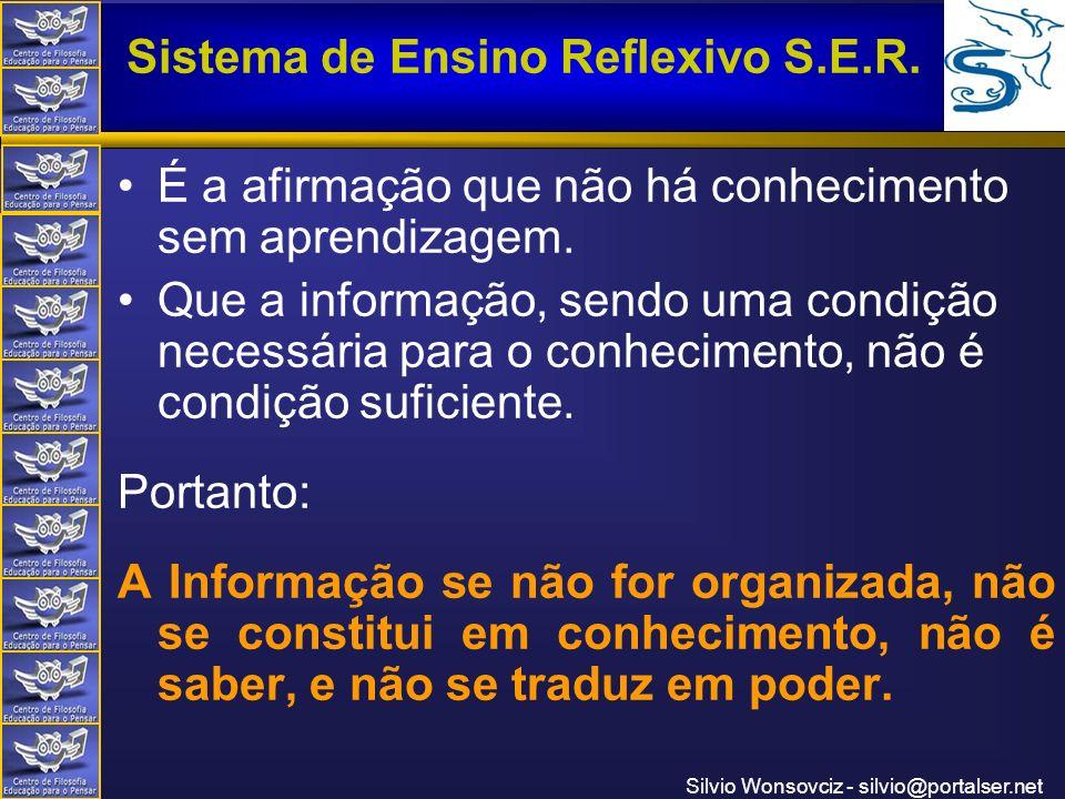 Centro de Filosofia Educação para o Pensar Sistema de Ensino Reflexivo S.E.R. Silvio Wonsovciz - silvio@portalser.net É a afirmação que não há conheci