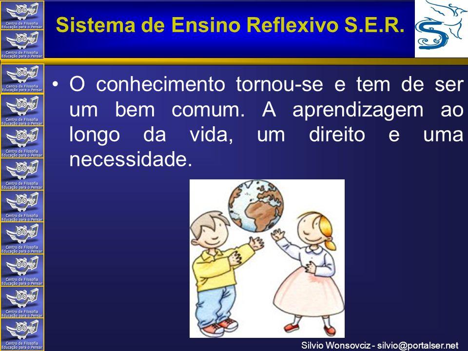 Centro de Filosofia Educação para o Pensar Sistema de Ensino Reflexivo S.E.R. Silvio Wonsovciz - silvio@portalser.net O conhecimento tornou-se e tem d
