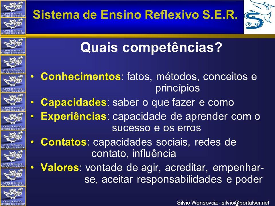 Centro de Filosofia Educação para o Pensar Sistema de Ensino Reflexivo S.E.R. Silvio Wonsovciz - silvio@portalser.net Quais competências? Conhecimento