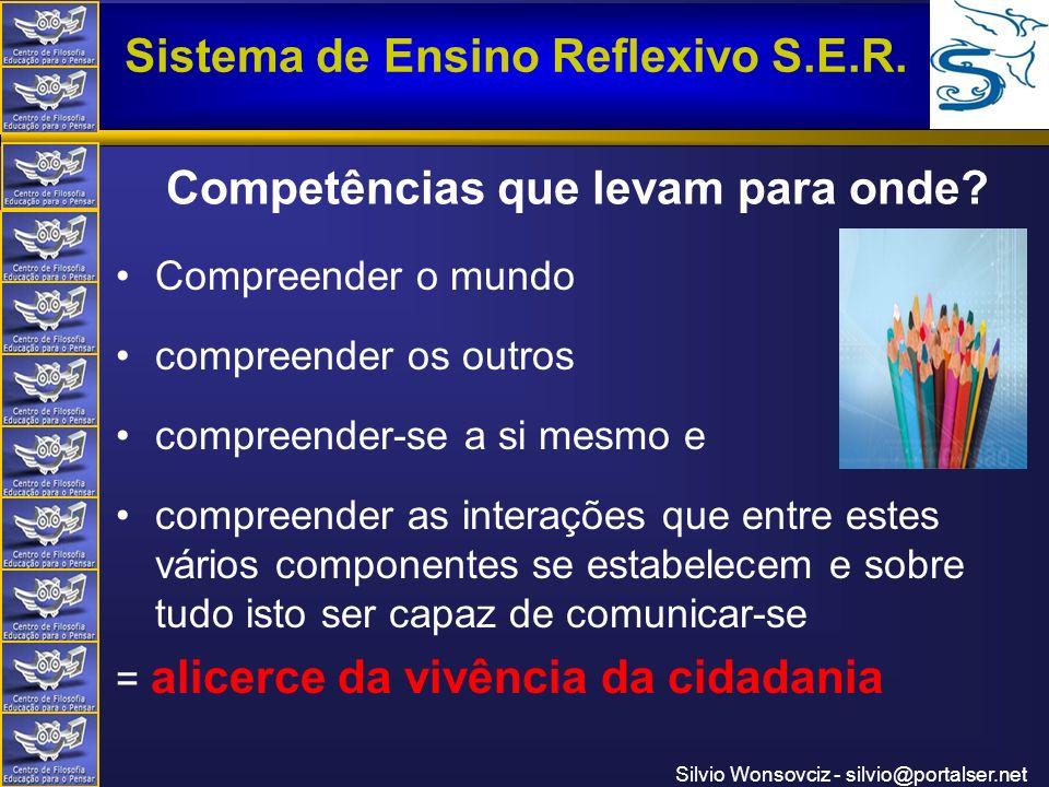 Centro de Filosofia Educação para o Pensar Sistema de Ensino Reflexivo S.E.R. Silvio Wonsovciz - silvio@portalser.net Competências que levam para onde