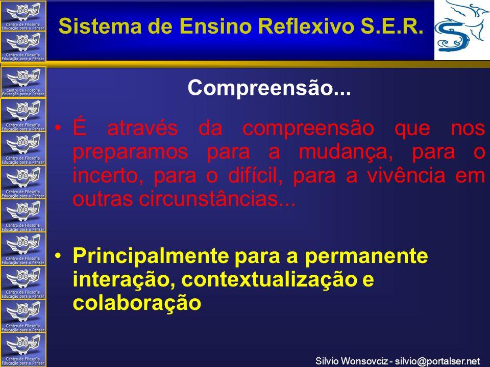 Centro de Filosofia Educação para o Pensar Sistema de Ensino Reflexivo S.E.R. Silvio Wonsovciz - silvio@portalser.net Compreensão... É através da comp