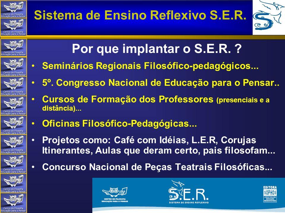 Centro de Filosofia Educação para o Pensar Sistema de Ensino Reflexivo S.E.R. Silvio Wonsovciz - silvio@portalser.net Por que implantar o S.E.R. ? Sem