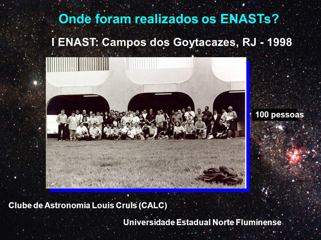 Onde foram realizados os ENASTs? I ENAST: Campos dos Goytacazes, RJ - 1998 Clube de Astronomia Louis Cruls (CALC) Universidade Estadual Norte Fluminen