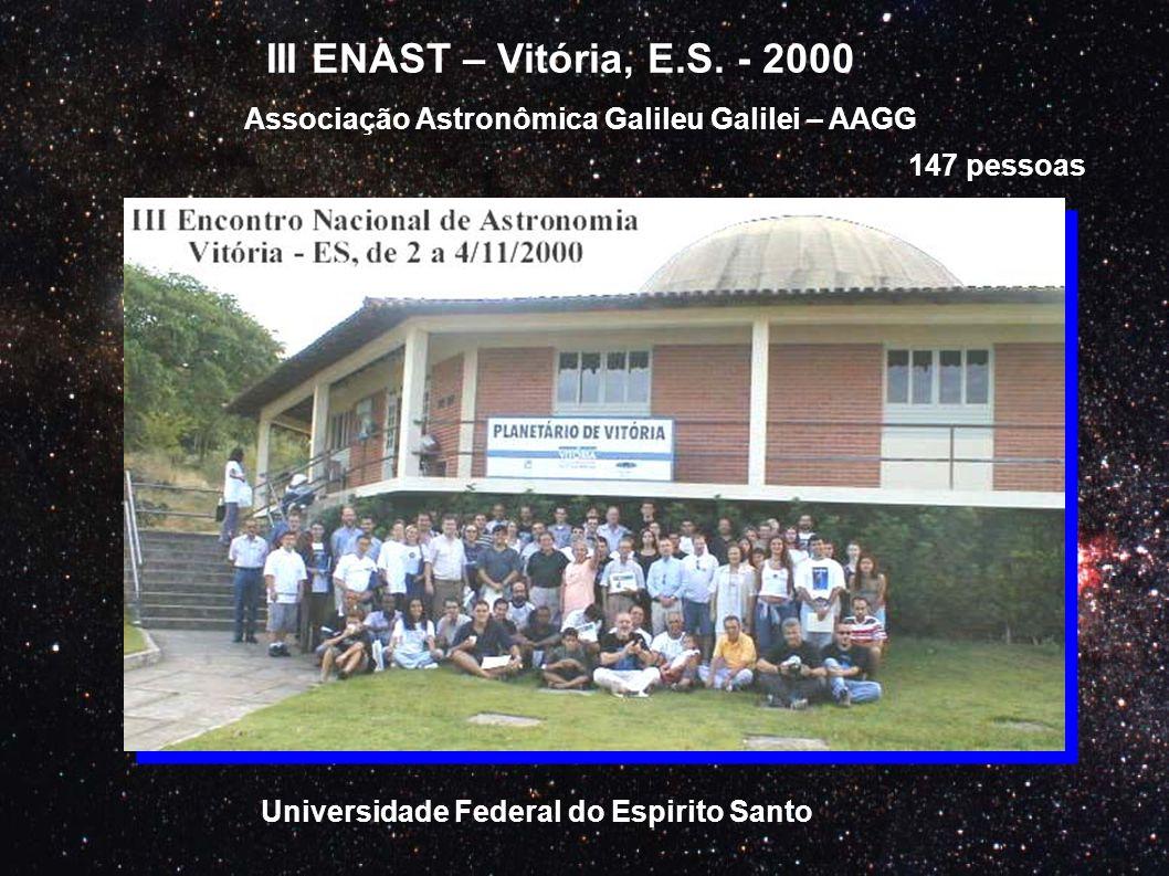 III ENAST – Vitória, E.S. - 2000 Associação Astronômica Galileu Galilei – AAGG 147 pessoas Universidade Federal do Espirito Santo