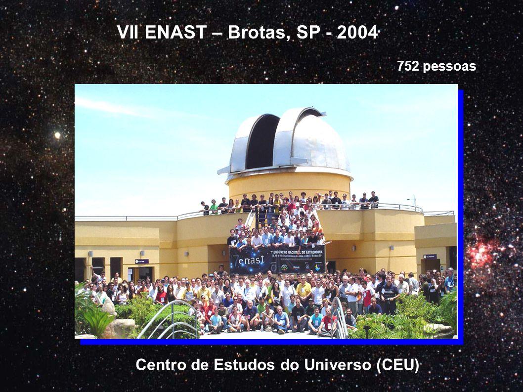 VII ENAST – Brotas, SP - 2004 Centro de Estudos do Universo (CEU) 752 pessoas