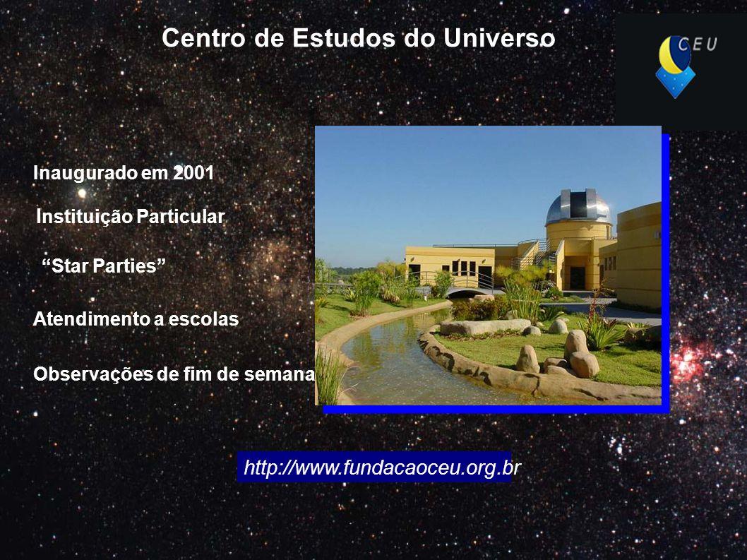 Centro de Estudos do Universo I nstituição Particular Inaugurado em 2001 Atendimento a escolas Observações de fim de semana http://www.fundacaoceu.org