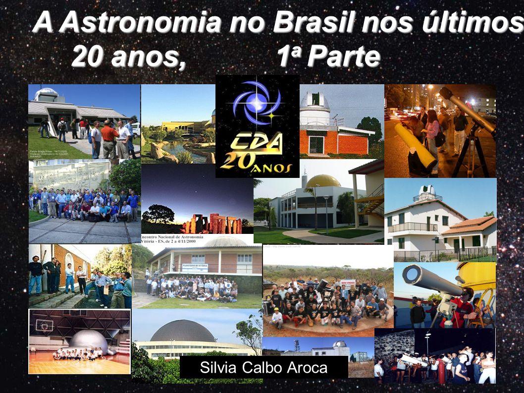 A Astronomia no Brasil nos últimos 20 anos Encontros Nacionais de Astronomia Clubes de Astronomia Centros de Divulgação de Astronomia Pesquisa em Ensino de Astronomia Rede de Astronomia Observacional Planetários