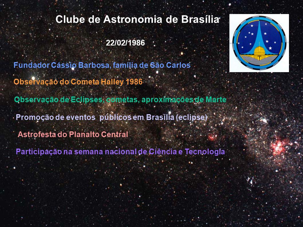 Clube de Astronomia de Brasília 22/02/1986 Observação do Cometa Halley 1986 Observação de Eclipses, cometas, aproximações de Marte Promoção de eventos