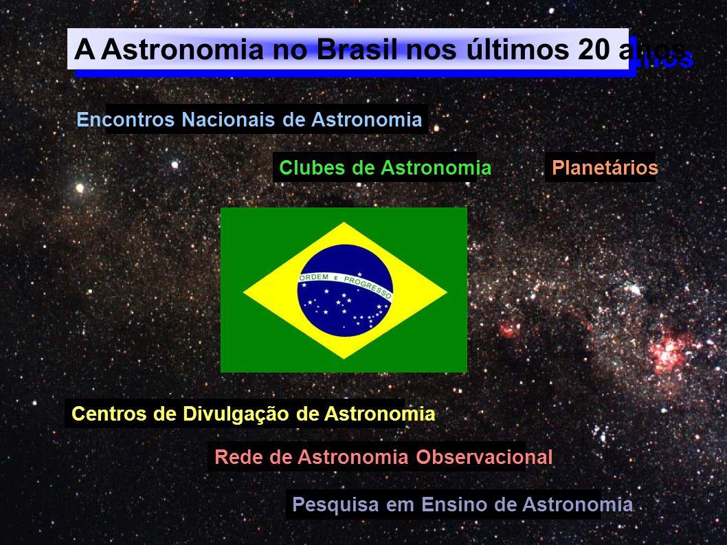 A Astronomia no Brasil nos últimos 20 anos Encontros Nacionais de Astronomia Clubes de Astronomia Centros de Divulgação de Astronomia Pesquisa em Ensi