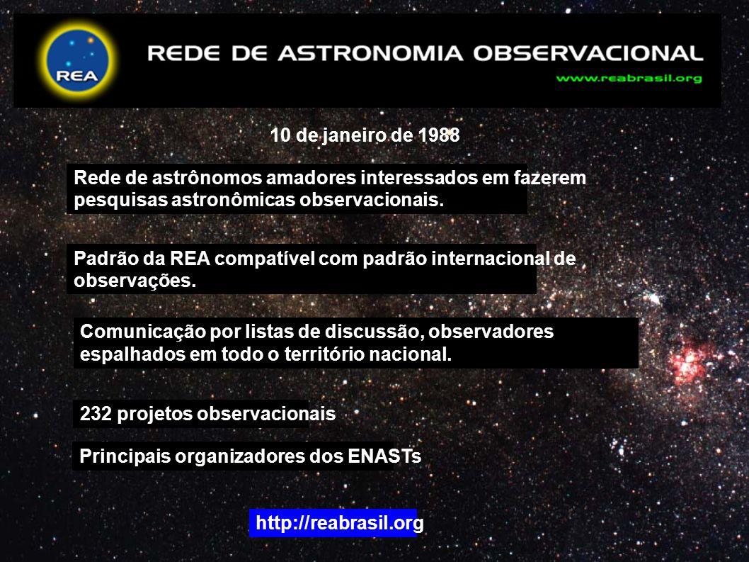 10 de janeiro de 1988 Rede de astrônomos amadores interessados em fazerem pesquisas astronômicas observacionais. Padrão da REA compatível com padrão i