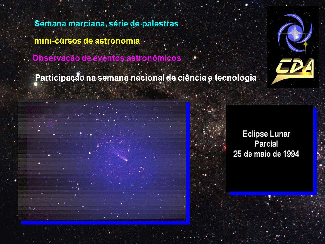 mini-cursos de astronomia Semana marciana, série de palestras Observação de eventos astronômicos Participação na semana nacional de ciência e tecnolog