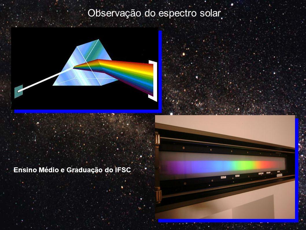 Observação do espectro solar Ensino Médio e Graduação do IFSC