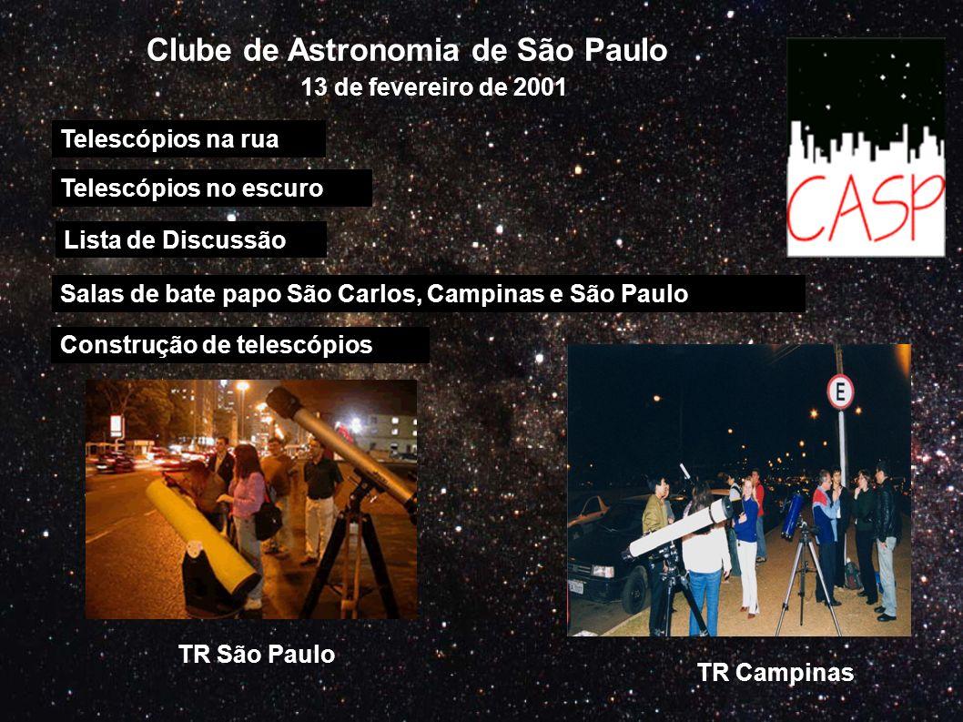 Clube de Astronomia de São Paulo Telescópios na rua Telescópios no escuro Salas de bate papo São Carlos, Campinas e São Paulo 13 de fevereiro de 2001