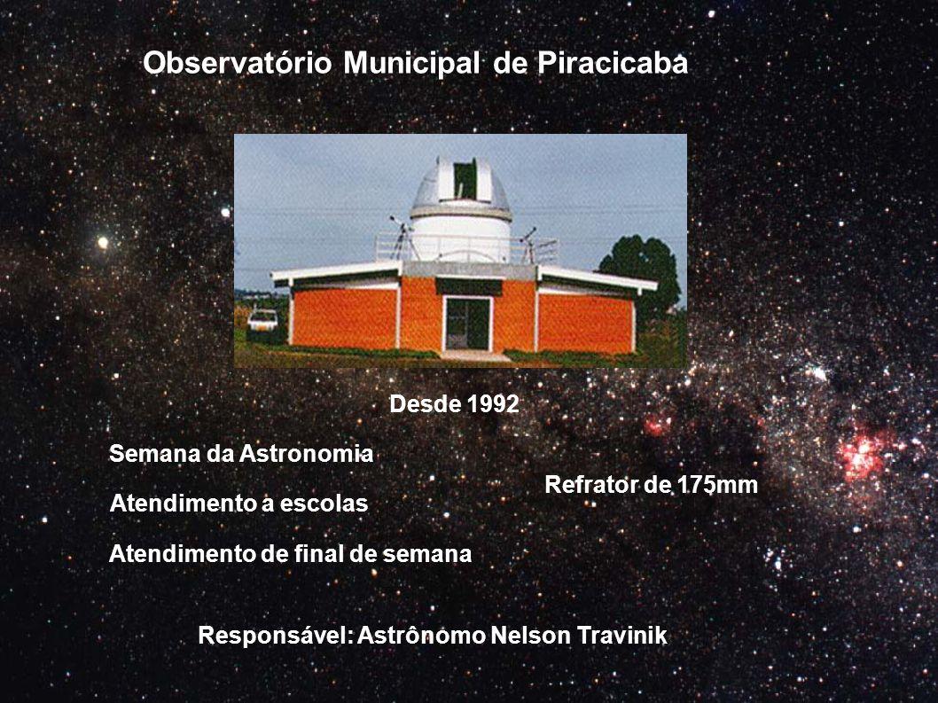 Observatório Municipal de Piracicaba Semana da Astronomia Atendimento a escolas Atendimento de final de semana Refrator de 175mm Desde 1992 Responsáve