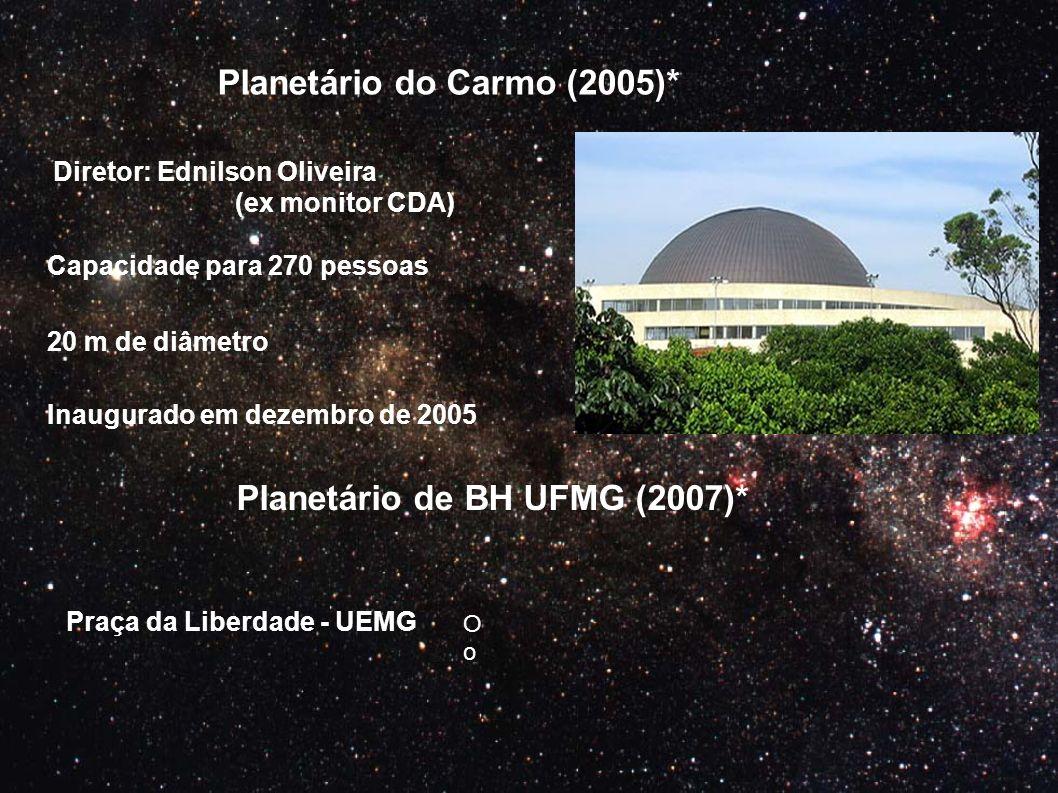 Planetário do Carmo (2005)* Planetário de BH UFMG (2007)* Diretor: Ednilson Oliveira (ex monitor CDA) Capacidade para 270 pessoas 20 m de diâmetro Pra