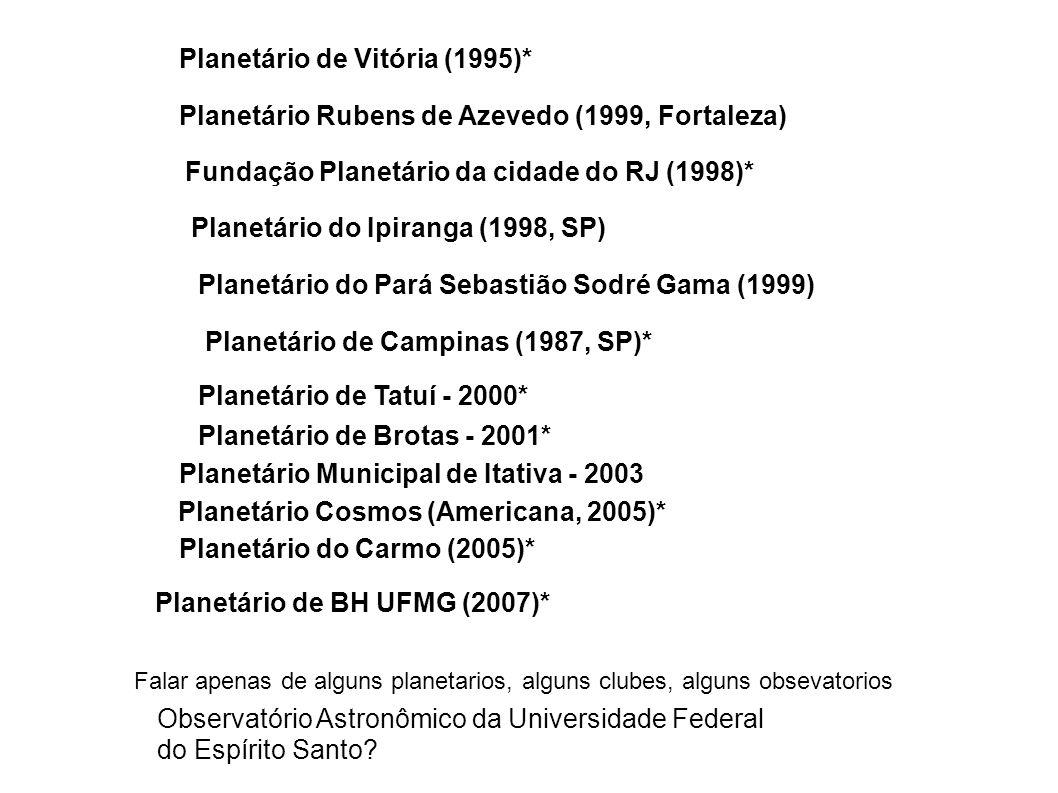 Observatório Astronômico da Universidade Federal do Espírito Santo? Planetário de Campinas (1987, SP)* Planetário de Vitória (1995)* Planetário do Ipi
