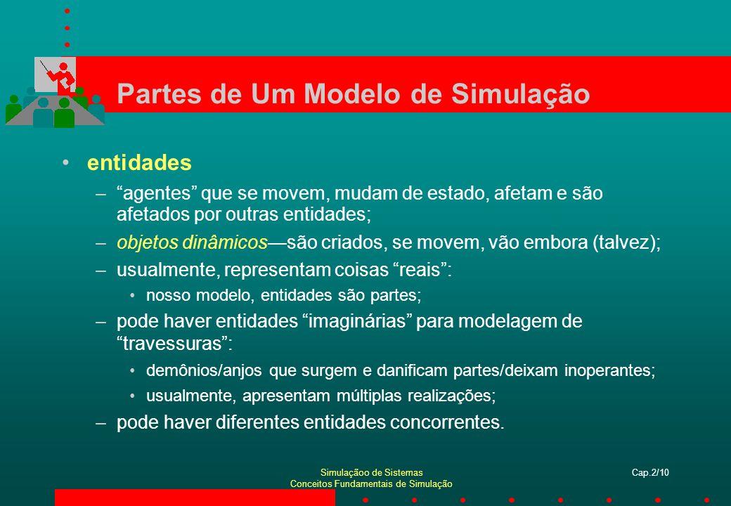 Simulaçãoo de Sistemas Conceitos Fundamentais de Simulação Cap.2/10 Partes de Um Modelo de Simulação entidades –agentes que se movem, mudam de estado,