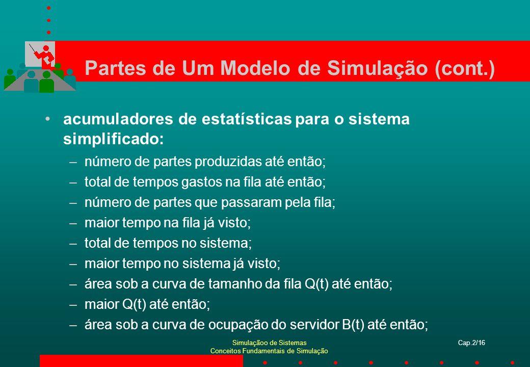Simulaçãoo de Sistemas Conceitos Fundamentais de Simulação Cap.2/16 Partes de Um Modelo de Simulação (cont.) acumuladores de estatísticas para o siste