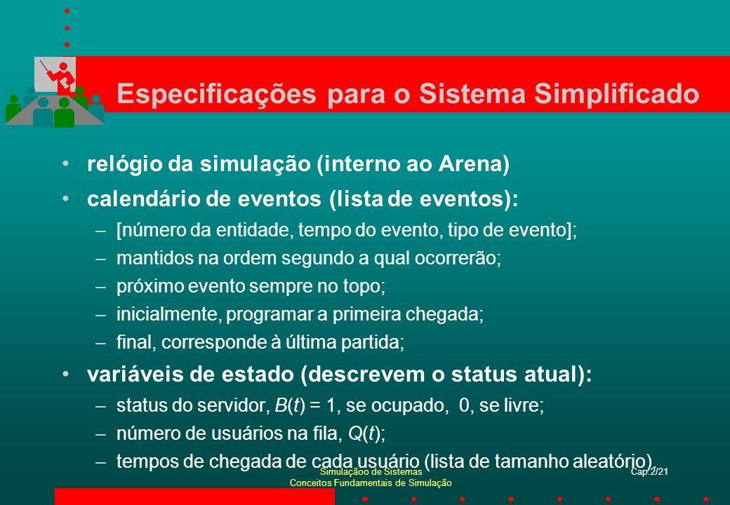 Simulaçãoo de Sistemas Conceitos Fundamentais de Simulação Cap.2/21 Especificações para o Sistema Simplificado relógio da simulação (interno ao Arena)