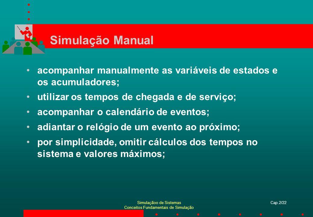 Simulaçãoo de Sistemas Conceitos Fundamentais de Simulação Cap.2/22 Simulação Manual acompanhar manualmente as variáveis de estados e os acumuladores;