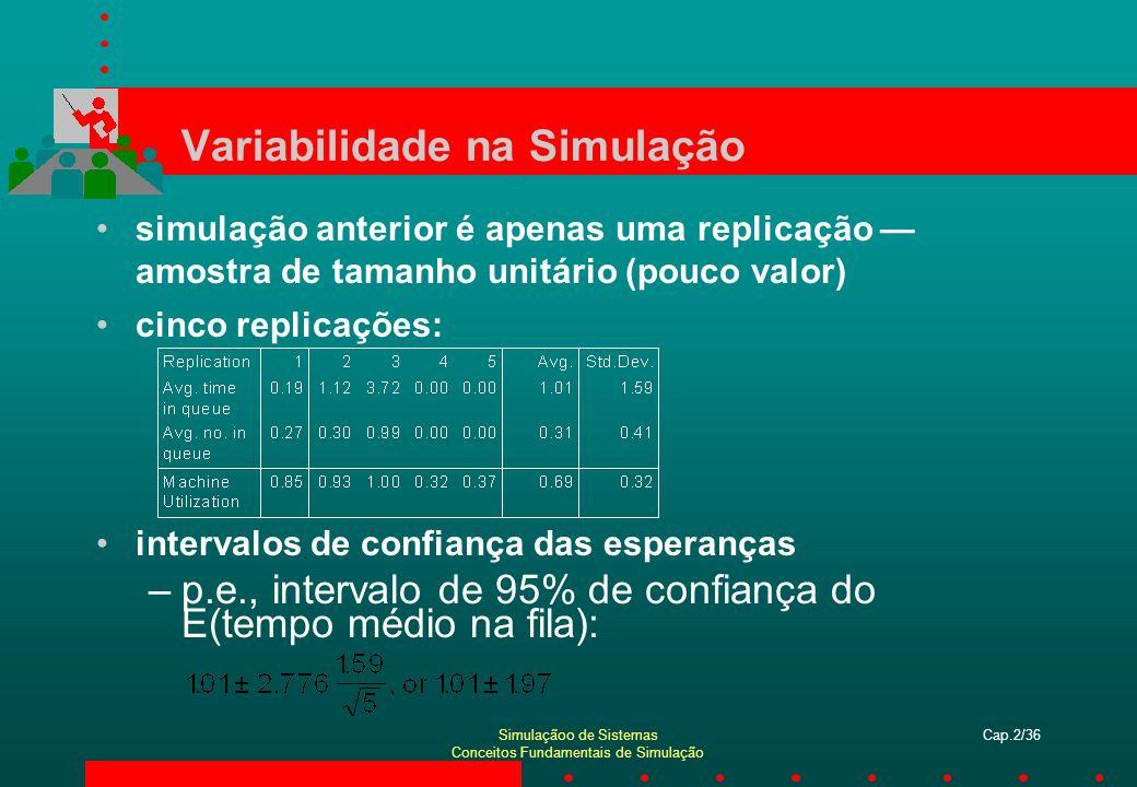 Simulaçãoo de Sistemas Conceitos Fundamentais de Simulação Cap.2/37 Comparação de Alternativas Normalmente, simulação é utilizada para mais de uma simples configuração; freqüentemente, deseja-se comparar alternativas, selecionar ou procurar pela melhor (segundo algum critério); sistema simplificado: o quê aconteceria se a taxa de chegada dobrasse.