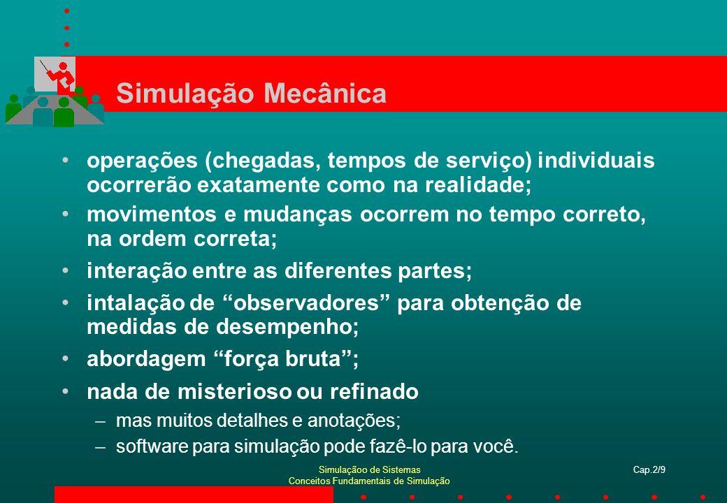 Simulaçãoo de Sistemas Conceitos Fundamentais de Simulação Cap.2/9 Simulação Mecânica operações (chegadas, tempos de serviço) individuais ocorrerão ex