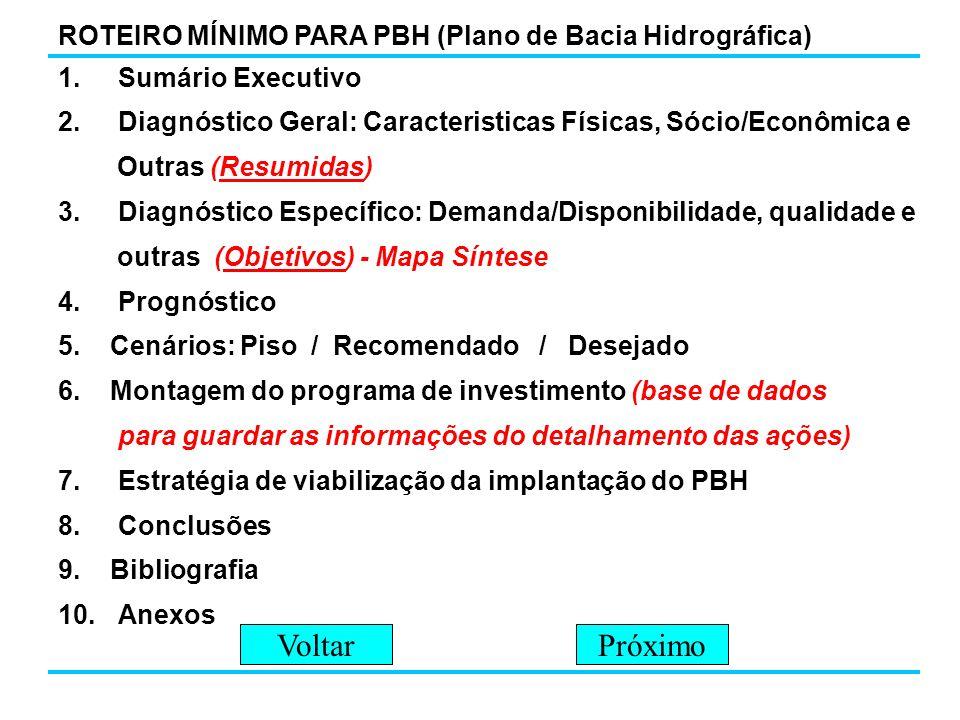 1.Sumário Executivo 2.Diagnóstico Geral: Caracteristicas Físicas, Sócio/Econômica e Outras (Resumidas) 3.Diagnóstico Específico: Demanda/Disponibilida