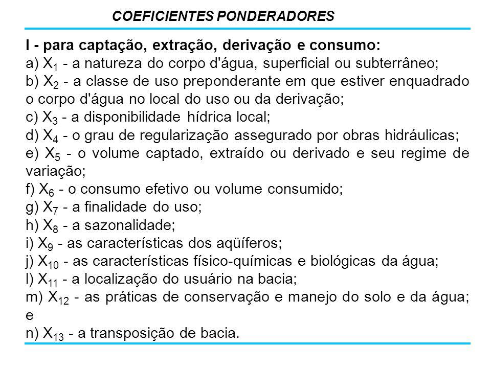 I - para captação, extração, derivação e consumo: a) X 1 - a natureza do corpo d'água, superficial ou subterrâneo; b) X 2 - a classe de uso prepondera