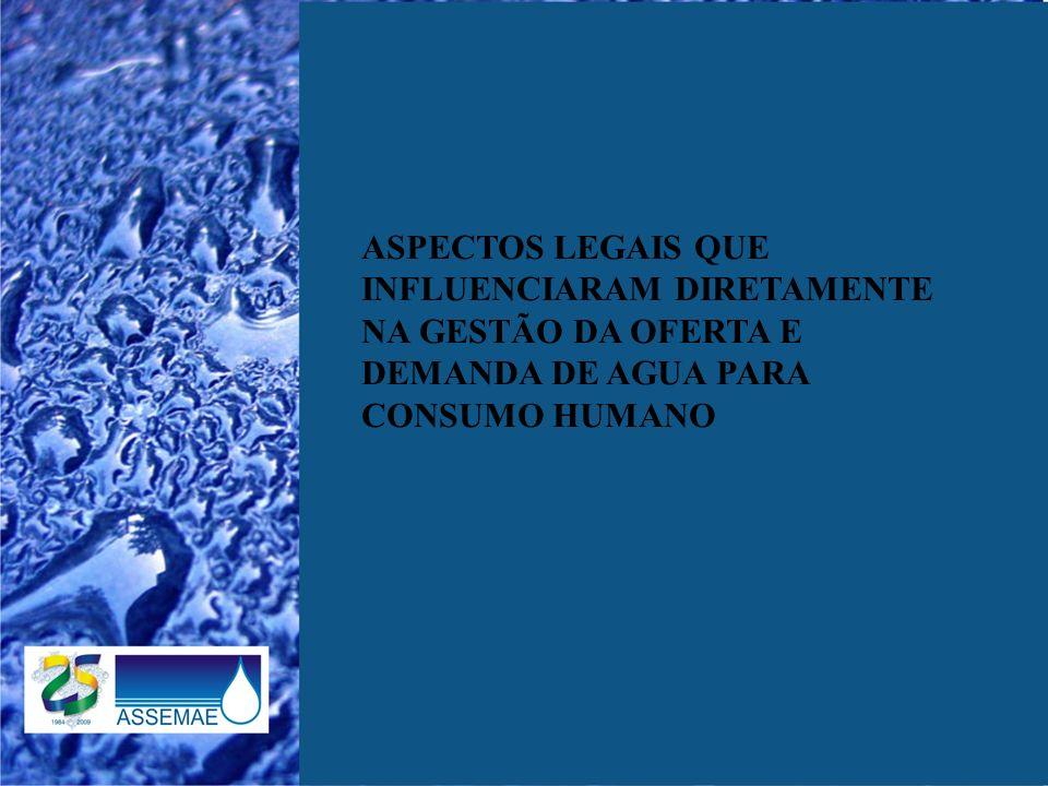 ASPECTOS LEGAIS QUE INFLUENCIARAM DIRETAMENTE NA GESTÃO DA OFERTA E DEMANDA DE AGUA PARA CONSUMO HUMANO