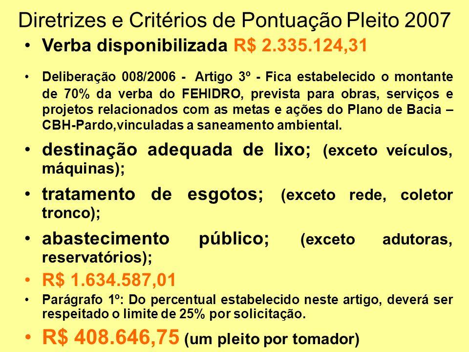 Diretrizes e Critérios de Pontuação Pleito 2007 Verba disponibilizada R$ 2.335.124,31 Deliberação 008/2006 - Artigo 3º - Fica estabelecido o montante de 70% da verba do FEHIDRO, prevista para obras, serviços e projetos relacionados com as metas e ações do Plano de Bacia – CBH-Pardo,vinculadas a saneamento ambiental.
