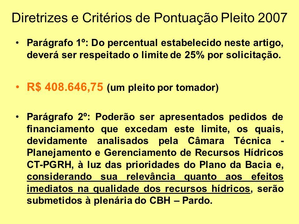Diretrizes e Critérios de Pontuação Pleito 2007 Parágrafo 1º: Do percentual estabelecido neste artigo, deverá ser respeitado o limite de 25% por solicitação.