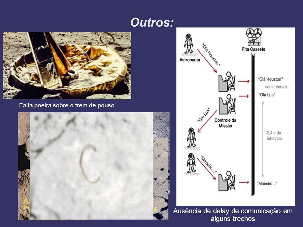 Outros: Falta poeira sobre o trem de pouso Ausência de delay de comunicação em alguns trechos Letra C gravada na pedra