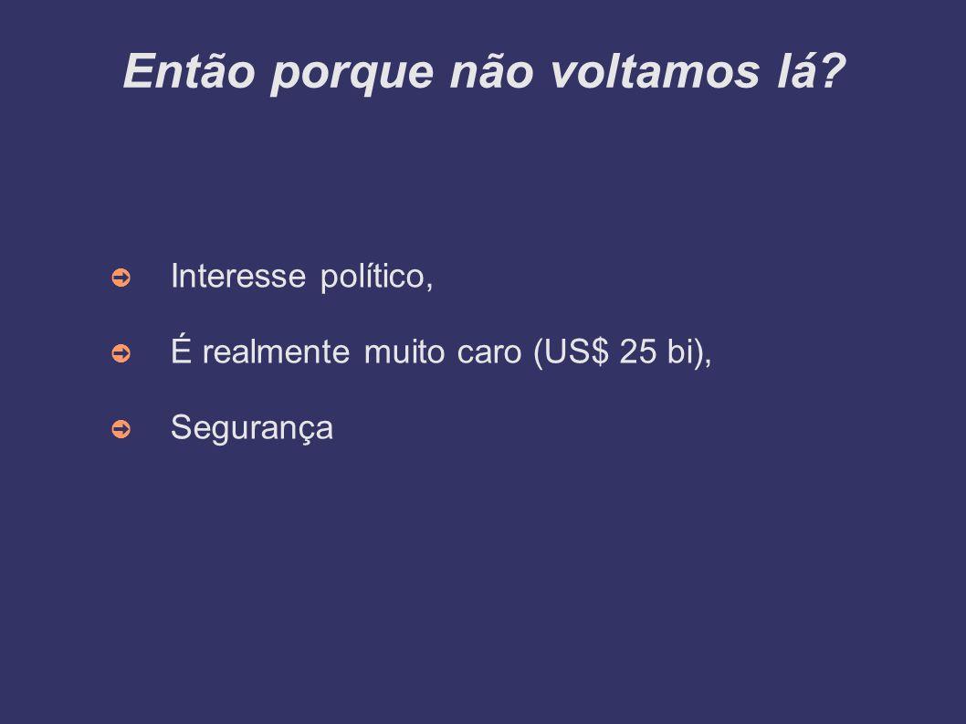 Então porque não voltamos lá Interesse político, É realmente muito caro (US$ 25 bi), Segurança