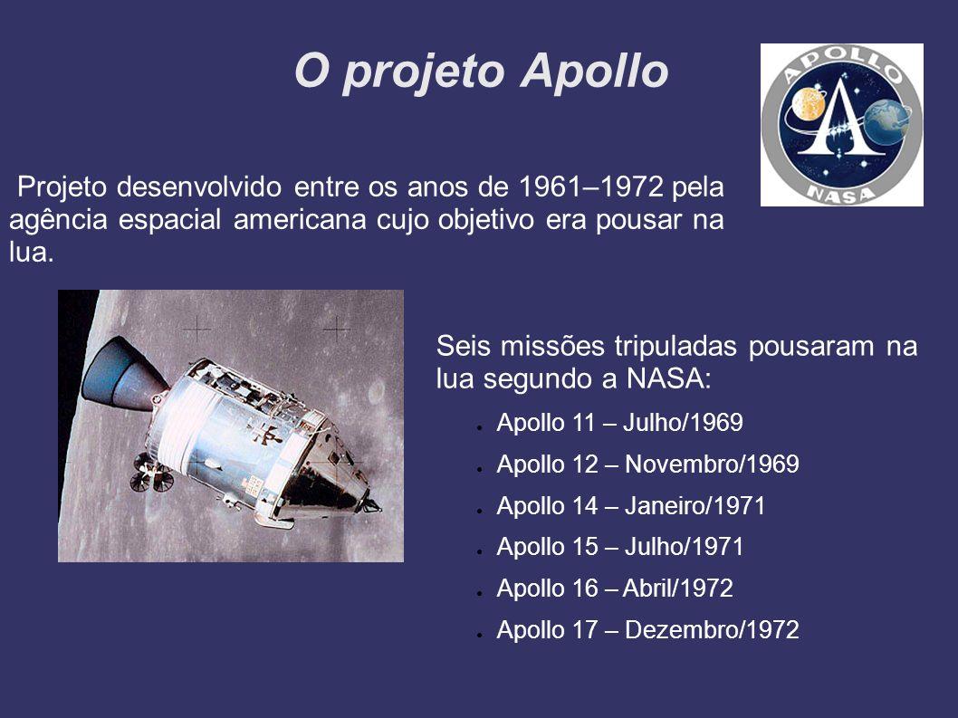 O projeto Apollo Projeto desenvolvido entre os anos de 1961–1972 pela agência espacial americana cujo objetivo era pousar na lua.