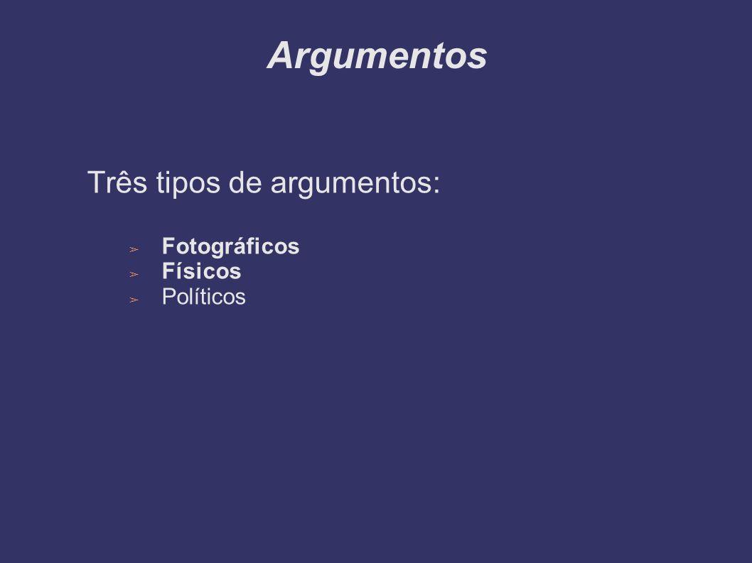 Argumentos Três tipos de argumentos: Fotográficos Físicos Políticos