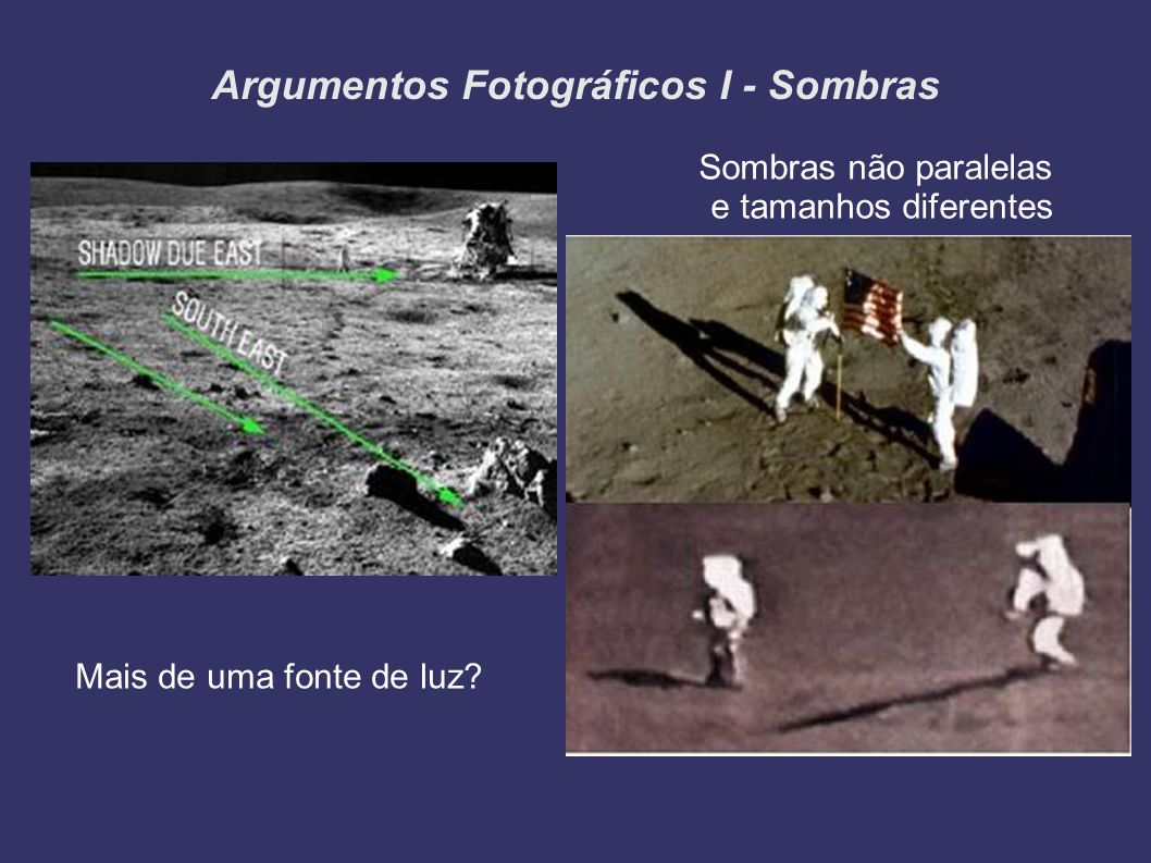 Argumentos Fotográficos I - Sombras Sombras não paralelas e tamanhos diferentes Mais de uma fonte de luz?