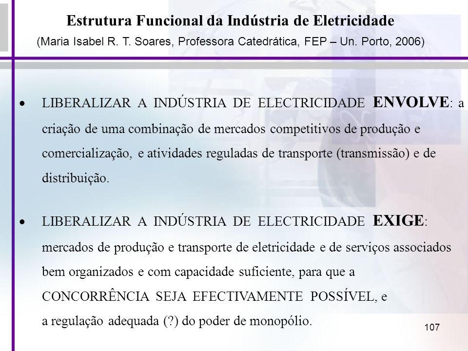 107 Estrutura Funcional da Indústria de Eletricidade (Maria Isabel R. T. Soares, Professora Catedrática, FEP – Un. Porto, 2006) LIBERALIZAR A INDÚSTRI