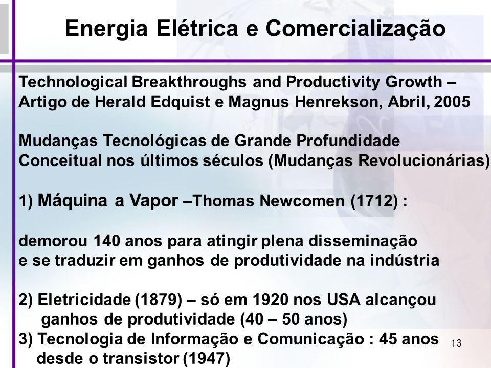 13 Energia Elétrica e Comercialização Technological Breakthroughs and Productivity Growth – Artigo de Herald Edquist e Magnus Henrekson, Abril, 2005 M