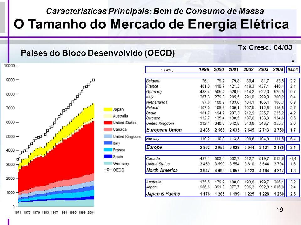 19 Características Principais: Bem de Consumo de Massa O Tamanho do Mercado de Energia Elétrica Países do Bloco Desenvolvido (OECD) Tx Cresc. 04/03
