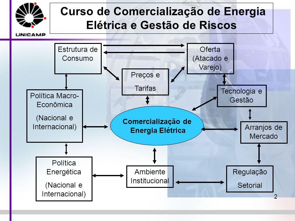 2 Comercialização de Energia Elétrica Estrutura de Consumo Oferta (Atacado e Varejo) Preços e Tarifas Arranjos de Mercado Regulação Setorial Ambiente