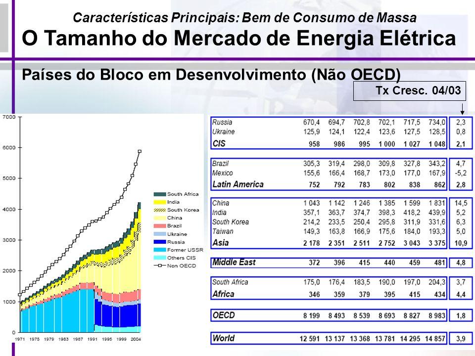 20 Países do Bloco em Desenvolvimento (Não OECD) Características Principais: Bem de Consumo de Massa O Tamanho do Mercado de Energia Elétrica Tx Cresc