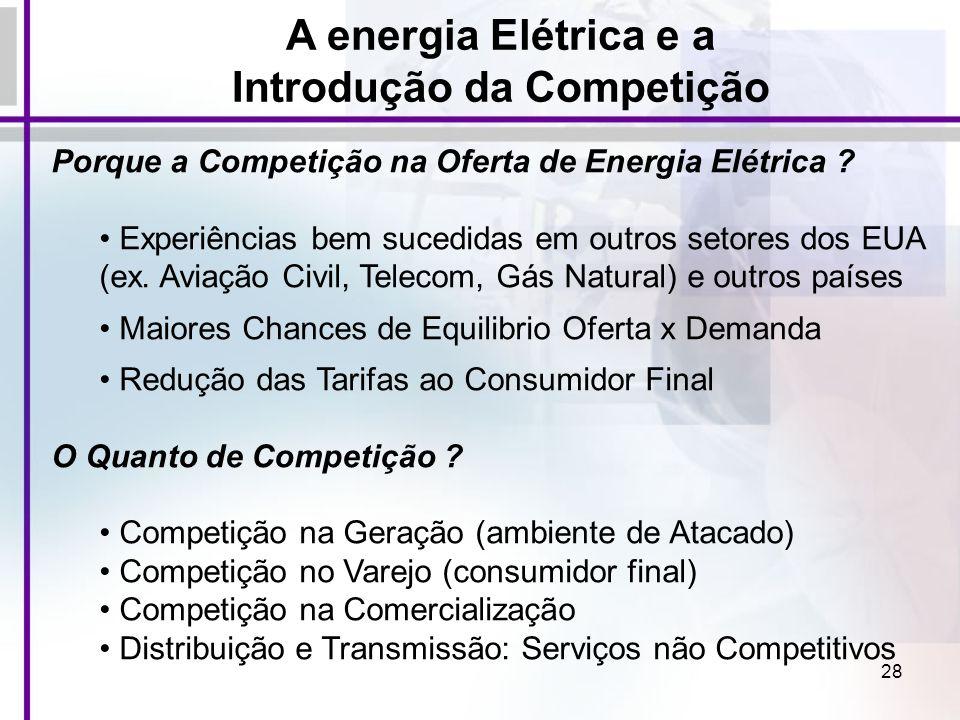 28 Porque a Competição na Oferta de Energia Elétrica ? Experiências bem sucedidas em outros setores dos EUA (ex. Aviação Civil, Telecom, Gás Natural)