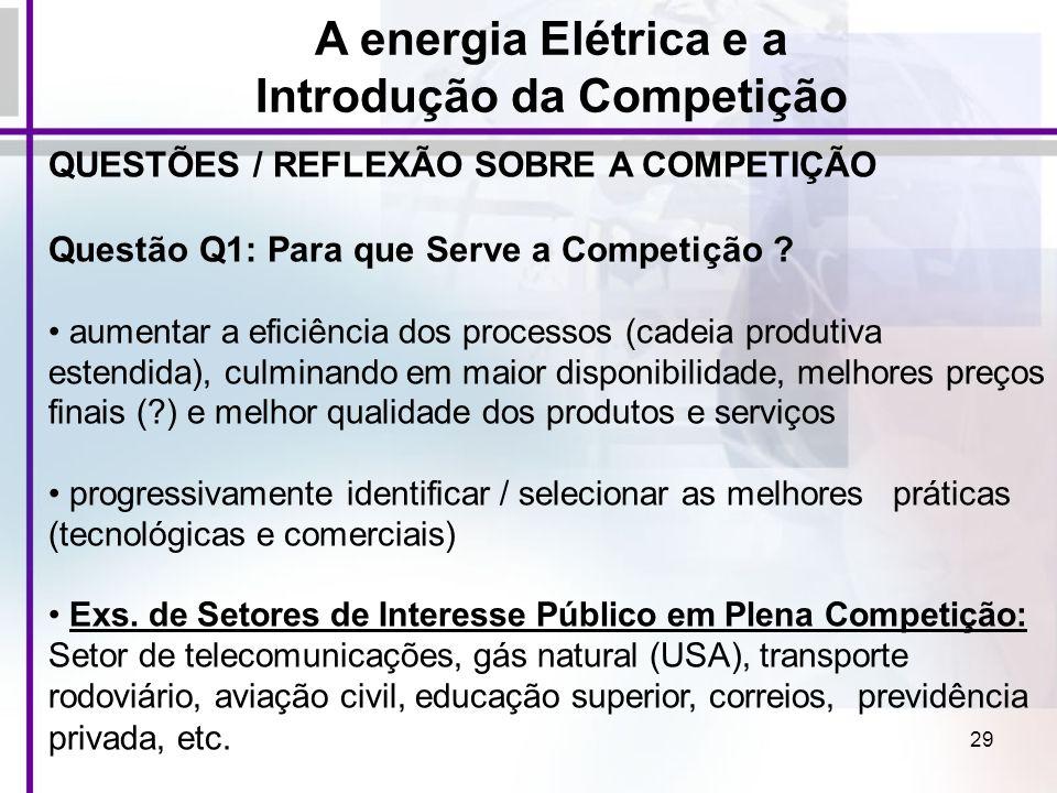 29 QUESTÕES / REFLEXÃO SOBRE A COMPETIÇÃO Questão Q1: Para que Serve a Competição ? aumentar a eficiência dos processos (cadeia produtiva estendida),
