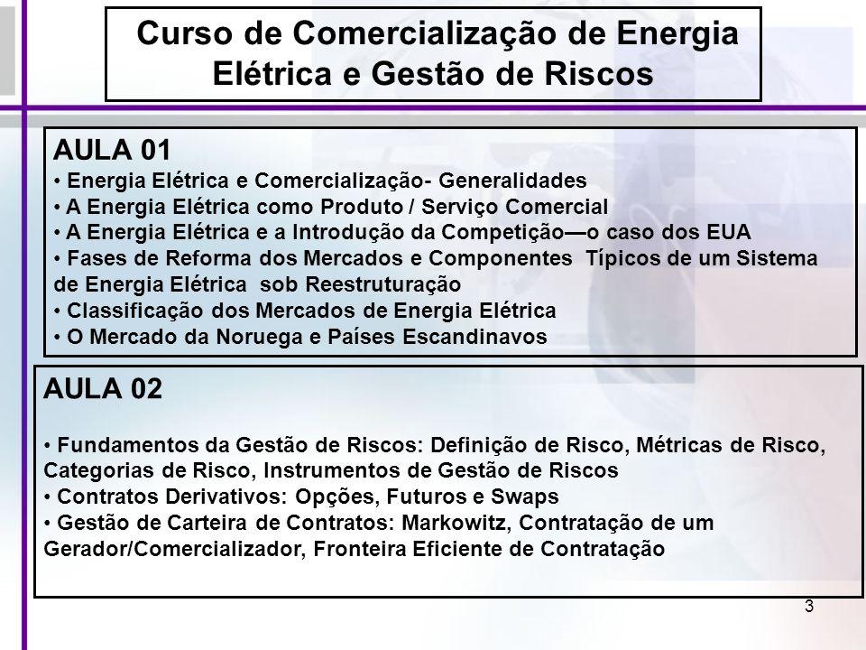 94 Exemplo de Estratégia de um Gerador Hidroelétrico: Supor que ele tem capacidade de produzir 80 MWh entre 13:00 e 14:00 hs do dia 24/06/2006 Porém ele tem contrato com clientes para os quais ele terá que atender 50 MWh nesse mesmo dia e horário Decisões Possíveis com Atuação no Mercado Spot: Comprar tudo (50 MWh) do Spot e reservar água para o futuro Comprar parte (ex.10 MWh) do Spot e produzir restante(40 MWh) Produzir para atender a carga dos clientes (50 MWh) e vender o restante (30 MWh) no Spot Cada uma dessas alternativas poderá ser a mais atrativa dependendo do preço de fechamento do Leilão O Mercado da Noruega e Países Escandinavos