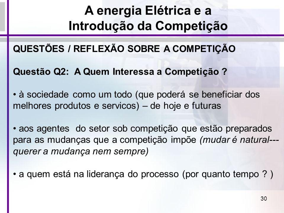 30 QUESTÕES / REFLEXÃO SOBRE A COMPETIÇÃO Questão Q2: A Quem Interessa a Competição ? à sociedade como um todo (que poderá se beneficiar dos melhores