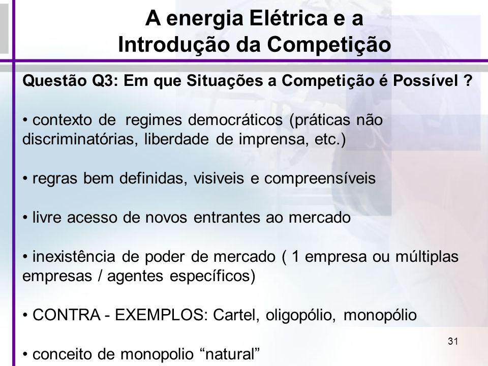 31 Questão Q3: Em que Situações a Competição é Possível ? contexto de regimes democráticos (práticas não discriminatórias, liberdade de imprensa, etc.