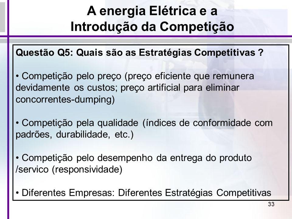 33 Questão Q5: Quais são as Estratégias Competitivas ? Competição pelo preço (preço eficiente que remunera devidamente os custos; preço artificial par